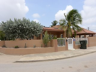 Side view of Villa Serenity with many species of cacti