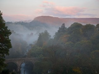 Wake up to early morning mists view from Bloom Cottage