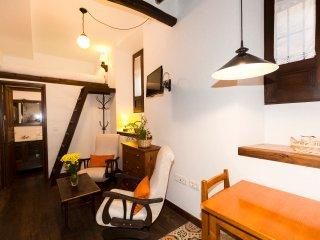 vista general de la sala de estar y al fondo puerta del aseo y en el altillo la cama de matrimonio
