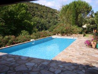 Grande maison avec piscine, au calme en bord de riviere, mais proche du village.