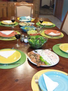 Enjoy festive family meals on our colorful china and fine cutlery.