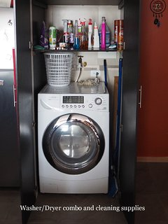 Washer/Dryer combo with cleaning supplies as needed