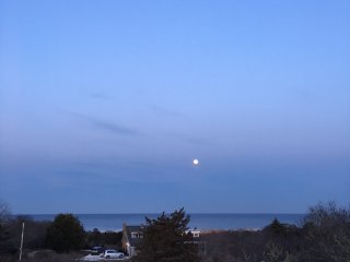 Moonrise over Nauset Beach and Atlantic Ocean from upper deck