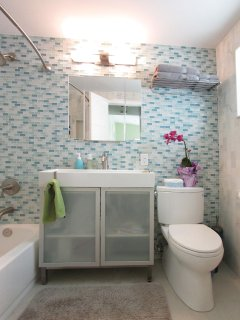 Bright Master Bathroom /w full shower/tub and glass storage vanity & Toto lav