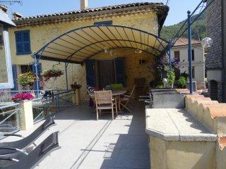 Terrasse avec tonnelle et barbecue