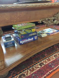 Table games for all family to use immediately at the bottom of the living room table.