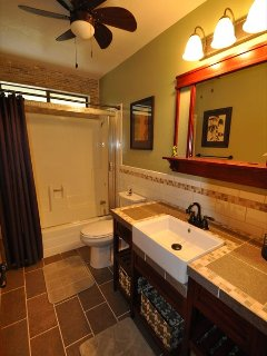 Guest bathroom, upper/main level, Unit 7 Lot 132 Pine Mountain Lake Vacation Rental The Wolffs Den