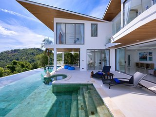 Style modern 3 BR full sea view holiday villa Flora with free shuttle, Chaweng
