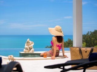 Style modern 3 BR full sea view holiday villa Flora with free shuttle