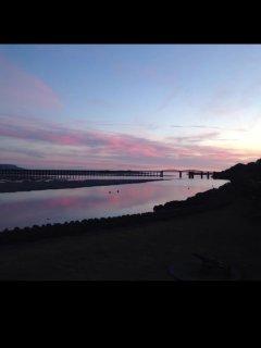 Barmouth bridge at sunset