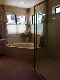 Master Bath with hillside views, soaking tub and large walk in shower