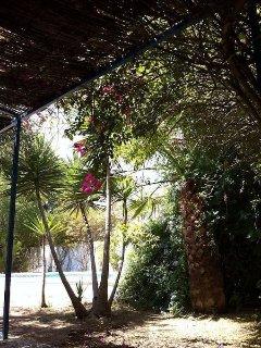 Terraza sombreada junto a la piscina