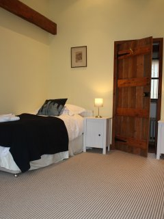 On the ground floor - twin single beds, with the family bathroom just  next door.