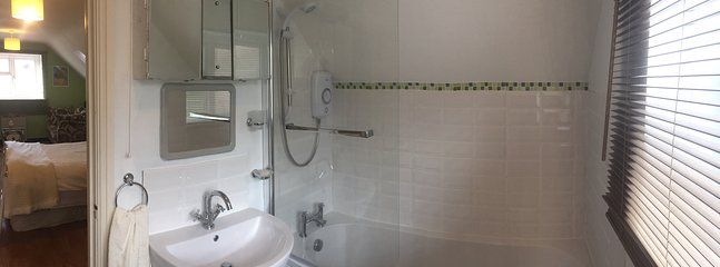 Bathroom with shower over bath.
