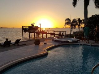 sunset at pool side