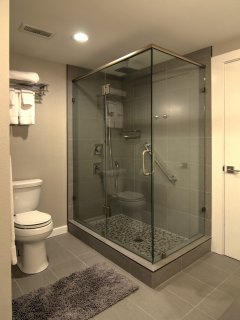 Downstairs bathroom, everything has just been remodeled for a sleek modern look