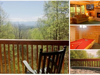 Log Cabin,3 King Suites w/ VIEWS, Sleeps 10, Hot Tub, Pool Table,2 miles to Pkwy