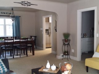 View from living room toward dining room and kitchen.
