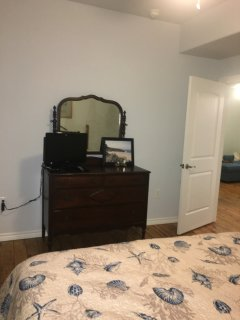 large king bedroom has a TV with cable and wifi