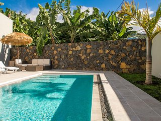 private 3X7 meter salt-water infinity pool on all 4 sides, solar heated in the winter months.