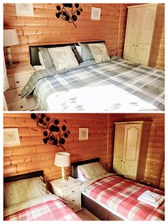 Bedroom 2, Zip and Link bed so you have the choice  of twin room or super King, please let us know