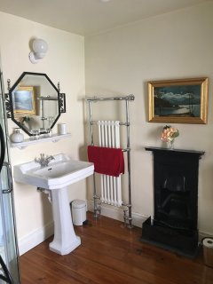 Shower Room with a lovely little cast iron fireplace