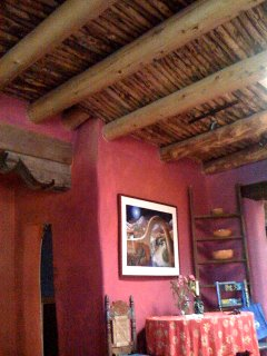this old adobe has a viga and latilla ceiling . . .