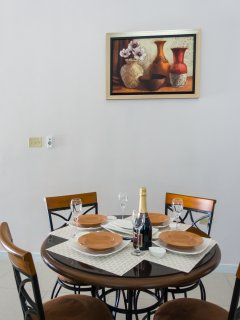 Dining area with art work