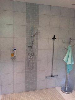 la salle de bain avec douche à l'italienne