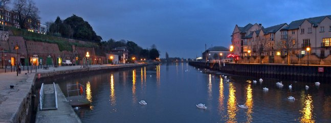 Exeter and topsham are both rgeat at night with brilliant restaurants - exeter has busier night life