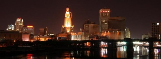 Skyline of Providence.  Lots of int'l cuisine, arts, and nightlife.  Hosts many universities.