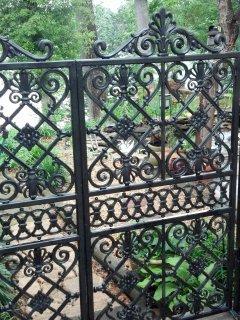 Iron gate to koi pond