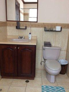 Main bathroom. Sink and toilet.