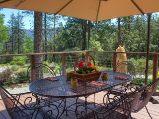Bass Lake Retreat: 2 Cabins. 0 Neighbors. 3 Decks. Gardens. Fountain. Views.