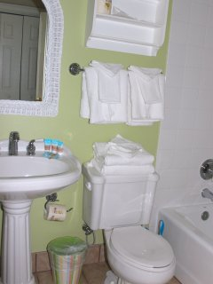 The adjoining bathroom has a shower/tub and pedestal sink.