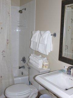 The hall bath has a pedestal sink and shower/tub.