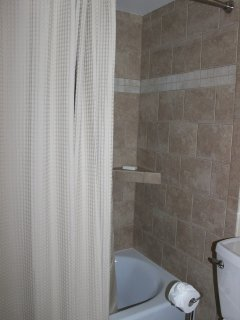 The bathroom has a separate vanity area. The tub/shower is beautifully tiled.