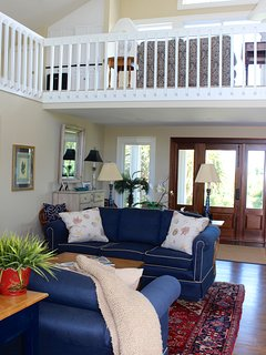 There is balcony that opens to the living room below.