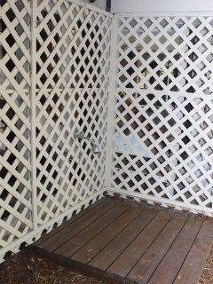 After the beach, you can rinse off the sand under the outdoor shower.