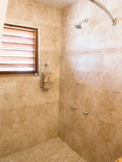 Luxurious shower with built in seat/shelf.