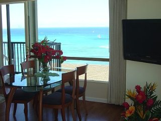 Fabulous Ocean Front 1B/2B Waikiki Beach Apartment- Steps to Beach  # 2107