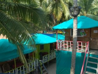 Comfortable rustic hut for backpackers, on Palolem beach