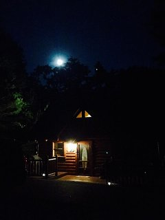 The beautiful moon shining bright over our cabin.