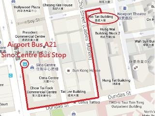 It's also walking distance away from the nearest Airbus bus stop (A21-Airport to Kowloon).