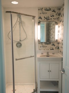 The Master Bath is ensuite to the Master Bedroom at the end of the cottage.