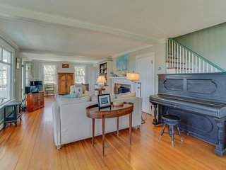 Dog-friendly home w/ lovely views, a huge yard & a private beach on the Sound!