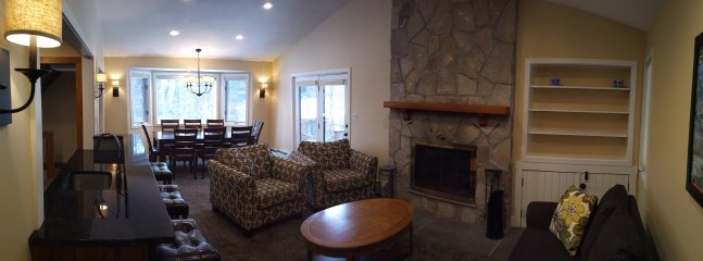 Generous space, dining, living, entertainment bar, warm, cozy and comfy new furniture, plush carpet.