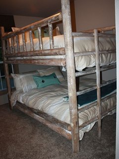 Third bedroom with Queen bed under extra long full bed--Bunk Bed