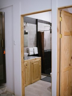 Full bathroom just outside the bedroom