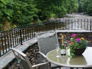 Enjoy the river views from the terrace at the rear of the property.